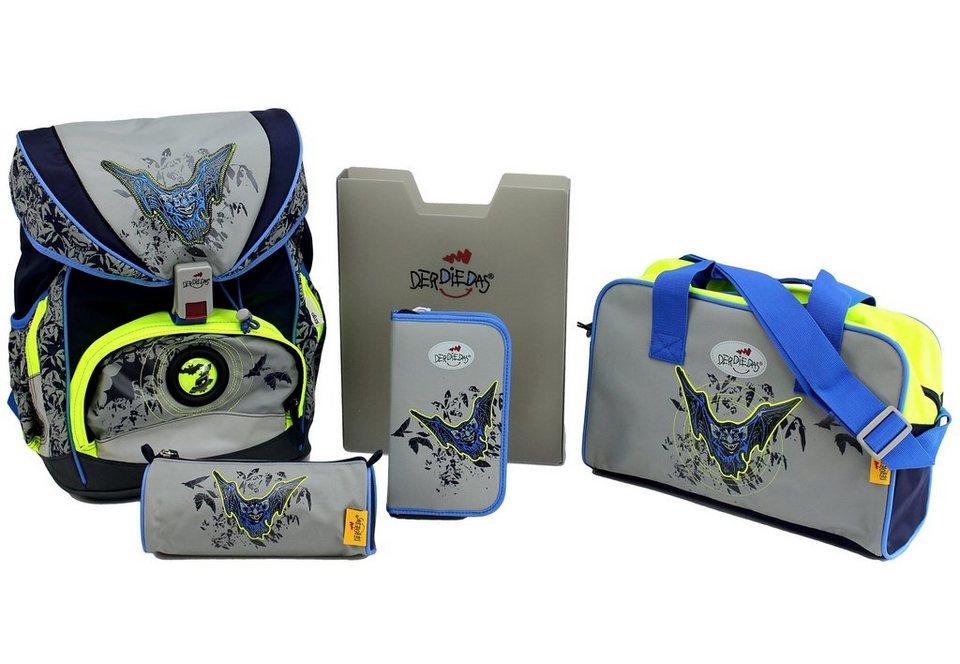 DerDieDas Schulrucksack Set (5tlg.), »ErgoFlex - Bat Moon« in grau/blau