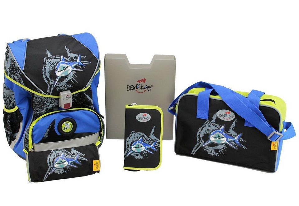 DerDieDas Schulrucksack Set (5tlg.), »ErgoFlex - White Shark« in schwarz/blau