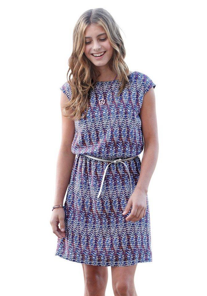 s.Oliver RED LABEL Junior Kleid mit Gürtel, für Mädchen in bunt-bedruckt-gemustert