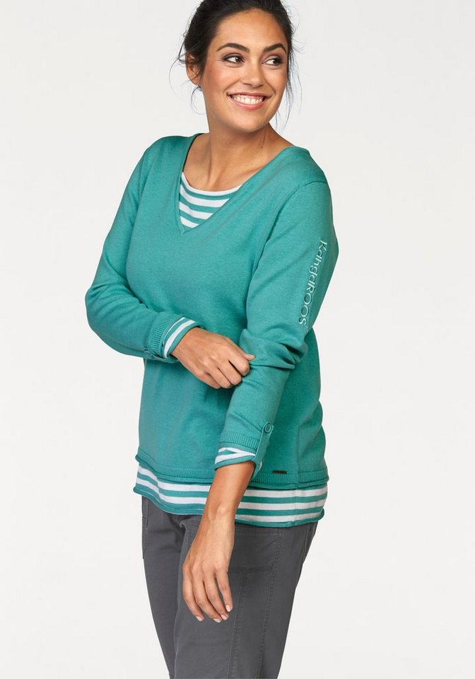 Kangaroos 2-in-1-Pullover 2-in-1 Optik in mint-weiß