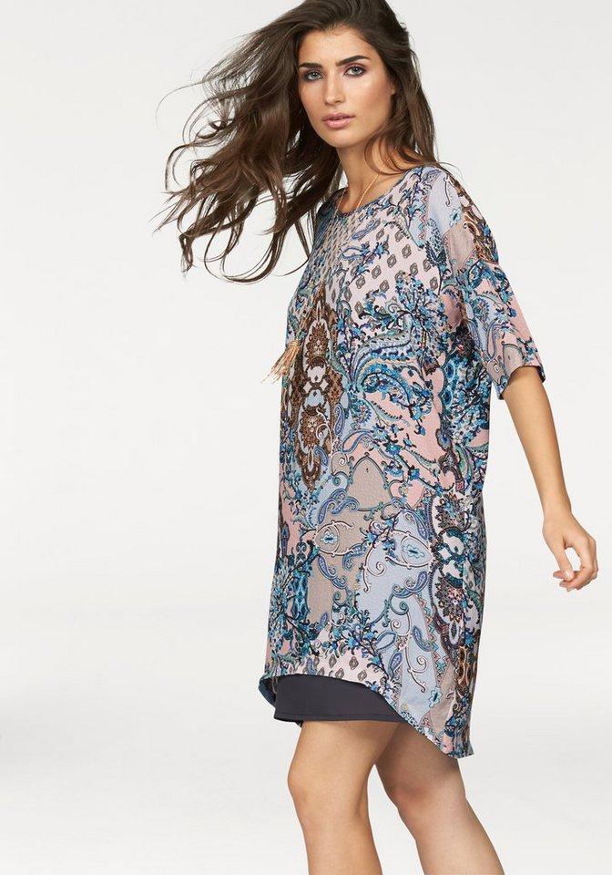 Rich & Royal Vokuhila-Kleid in blau-gemustert