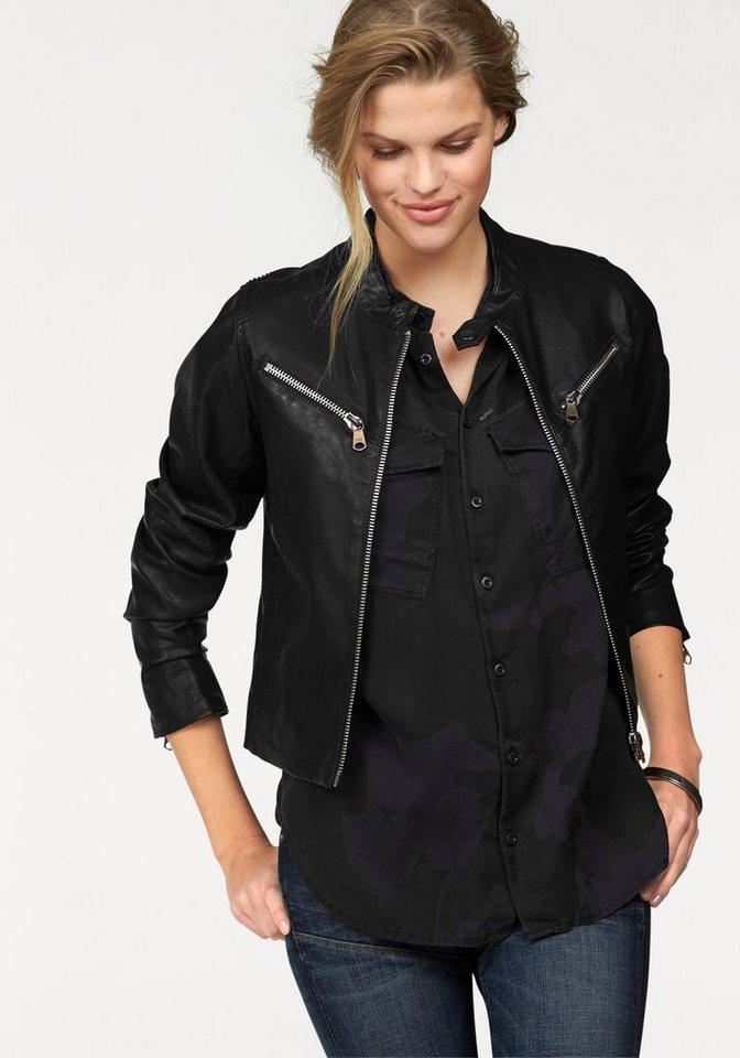 G-Star Lederimitatjacke »Road Slim« in Biker-Form in schwarz
