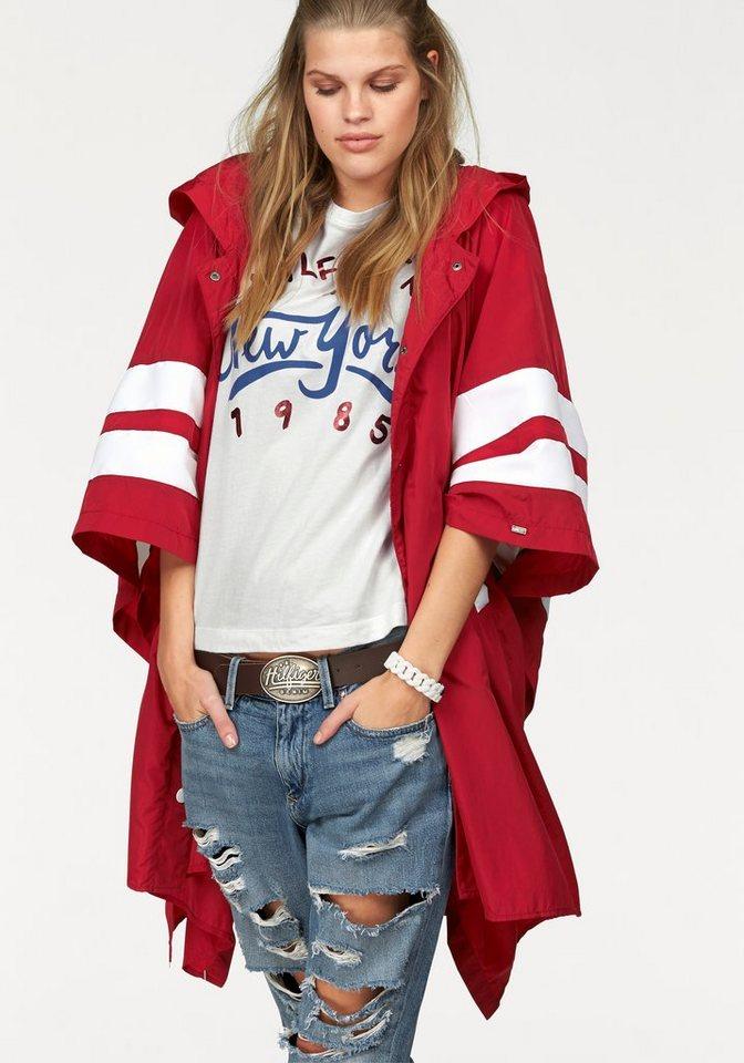 Hilfiger Denim Regenjacke im Poncho-Stil in rot-weiß