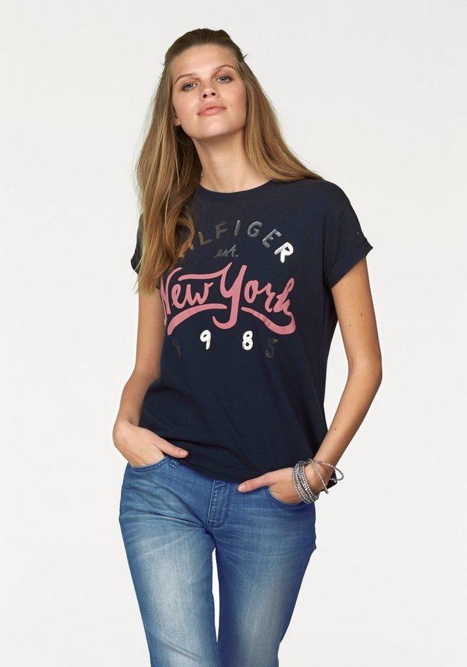 """Hilfiger Denim T-Shirt mit tollem """"New York"""" Print in marine"""