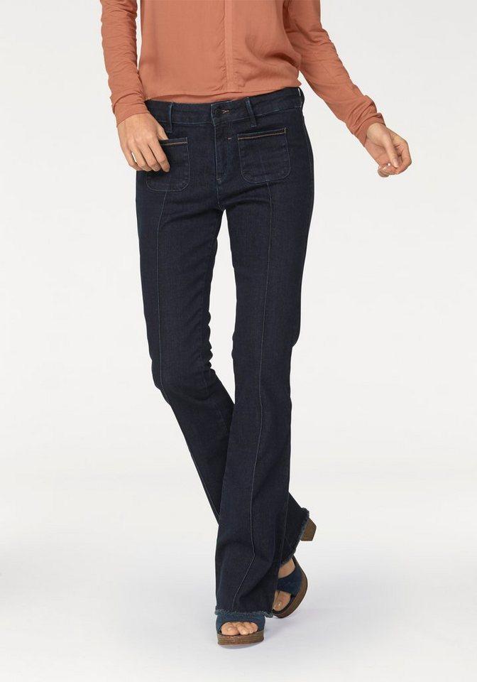 s.Oliver BLACK LABEL Stretch-Jeans »Selina low« Flared-Form in darkblue