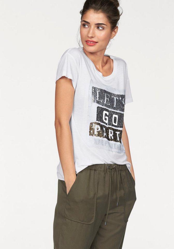 Pepe Jeans T-Shirt »Naomi« mit Paillettenfrontmotiv in weiß-bedruckt