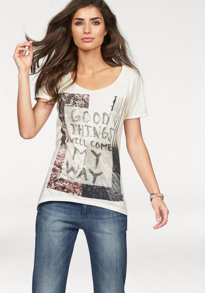Rich & Royal Print-Shirt »Good Things« mit Glitzersteinen in offwhite-bedruckt