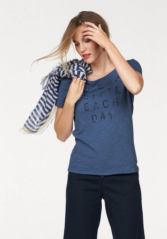 Marc O'Polo T-Shirt mit Sprüche-Druck in blau