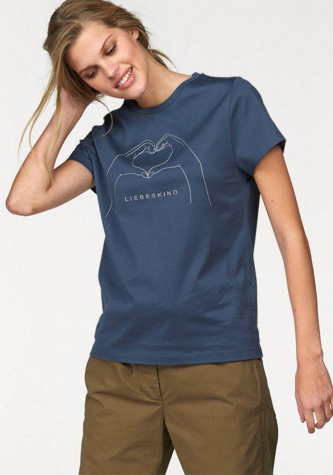 Liebeskind T-Shirt mit cooler Herz-Stickerei in blau