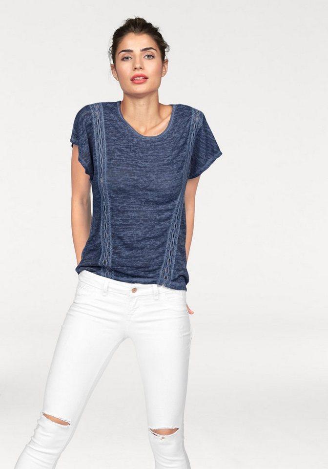 LTB Vokuhila-Shirt »Gewico« mit Spitzeneinsätzen in blau-meliert