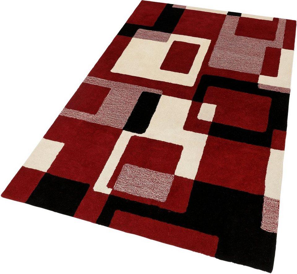 Schurwollteppich, HOME AFFAIRE, »Zahra«, Höhe 11 mm, handgearbeiteter Konturenschnitt in rot