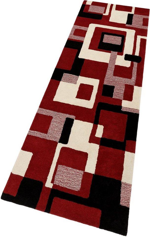 Schurwoll-Teppichläufer, HOME AFFAIRE, »Zahra«, Höhe 11 mm, handgearbeiteter Konturenschnitt in rot