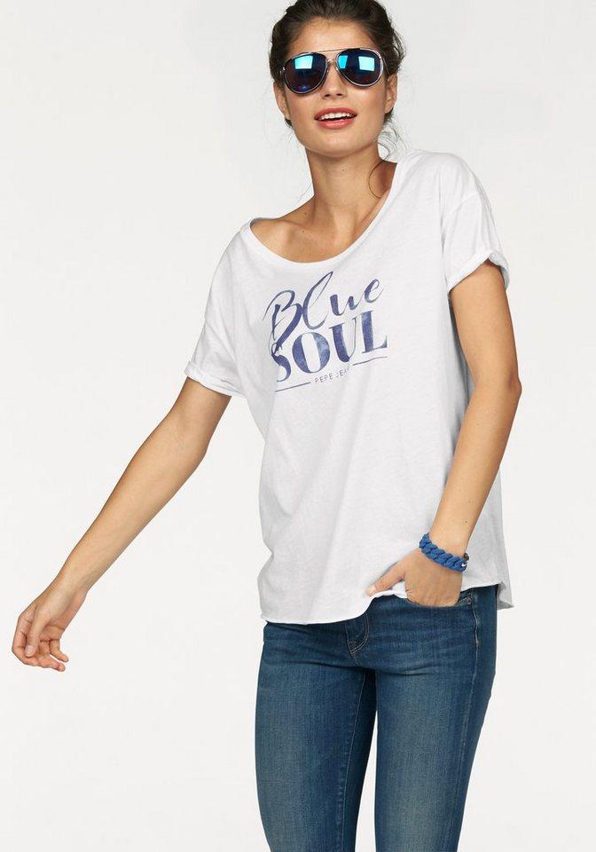 """Pepe Jeans Rundhalsshirt »Martini« mit """"Blue Soul"""" Frontdruck in weiß"""
