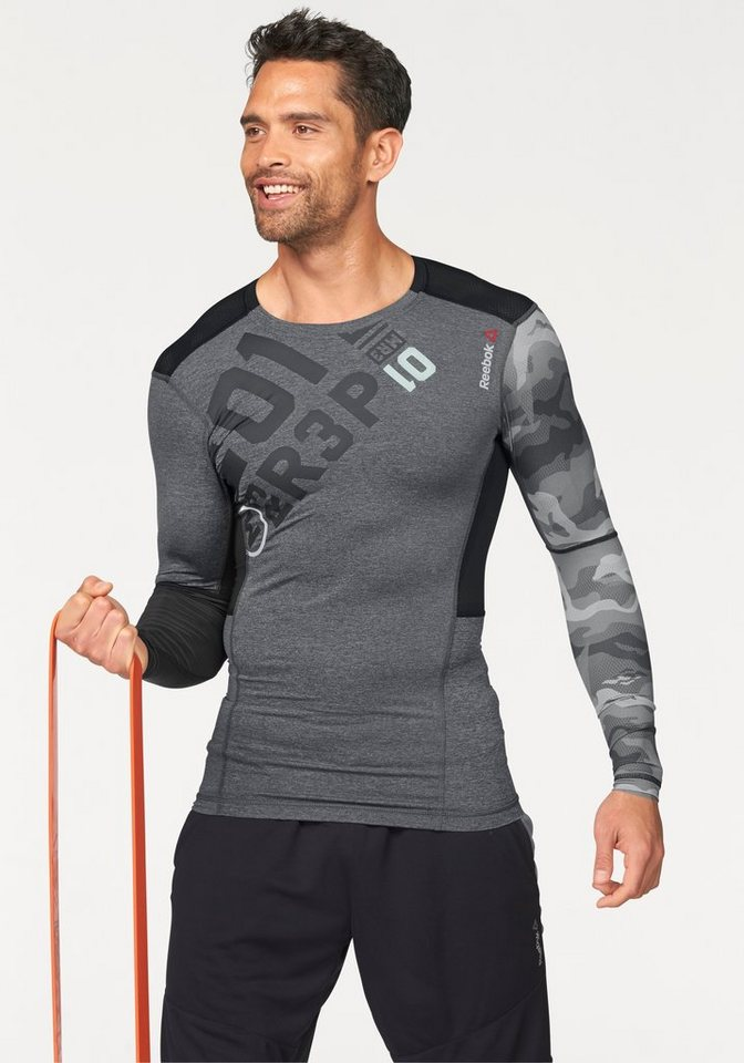 Reebok ONE SERIES PW3R LS COMPRESSION TOP Funktions-Langarmshirt in Dunkelgrau