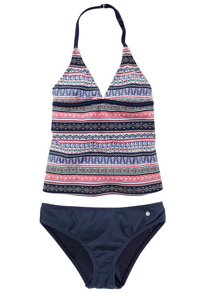 Tankini, s.Oliver RED LABEL Beachwear in blau-rosé gestreift