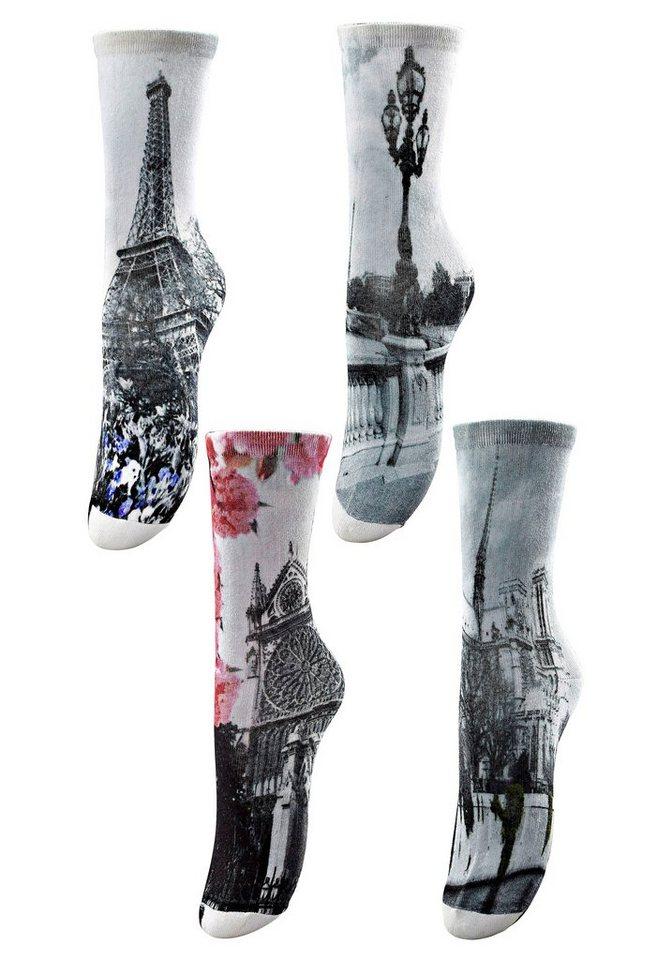 Arizona Städte-Socken (4 Paar) mit digitalem Fotodruck in 4x »Paris«