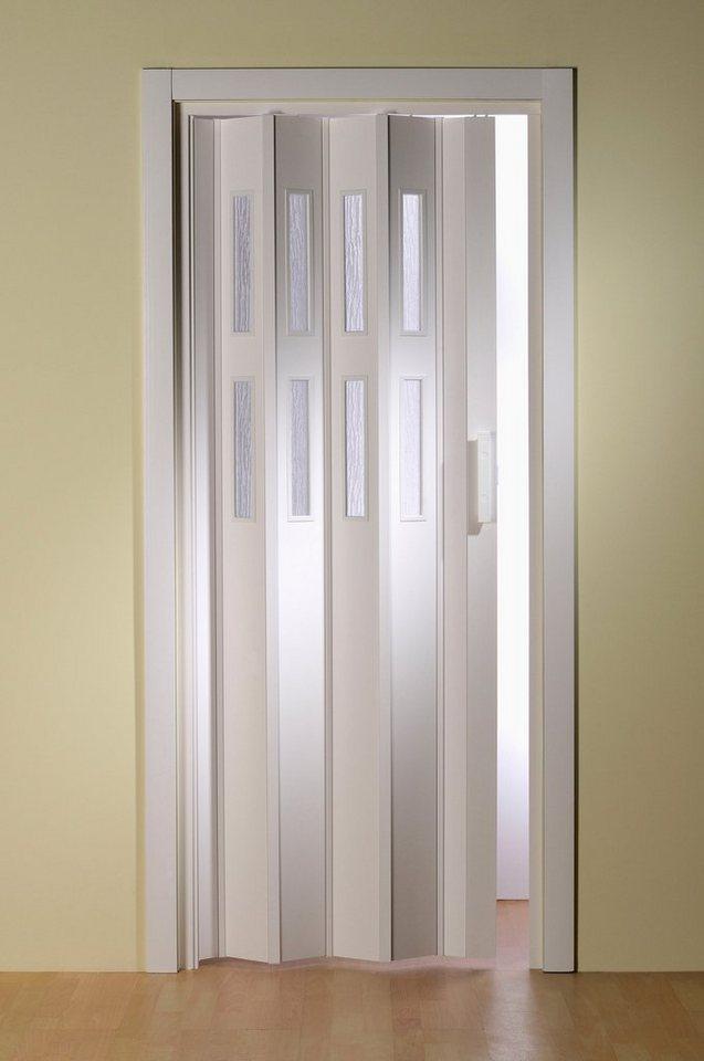 Kunststoff-Falttür »Luciana« Höhe nach Maß, weiß (mit Fenster) in weiß