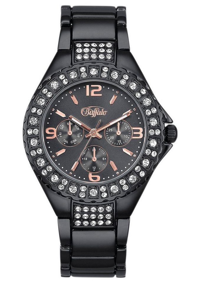 Buffalo Armbanduhr in schwarz