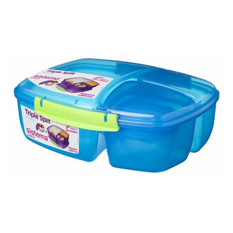 sistema sistema Lunchbox Triple Split mit Joghurt Behälter, blau in blau