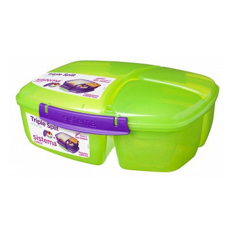 sistema sistema Lunchbox Triple Split mit Joghurt Behälter, grün in grün