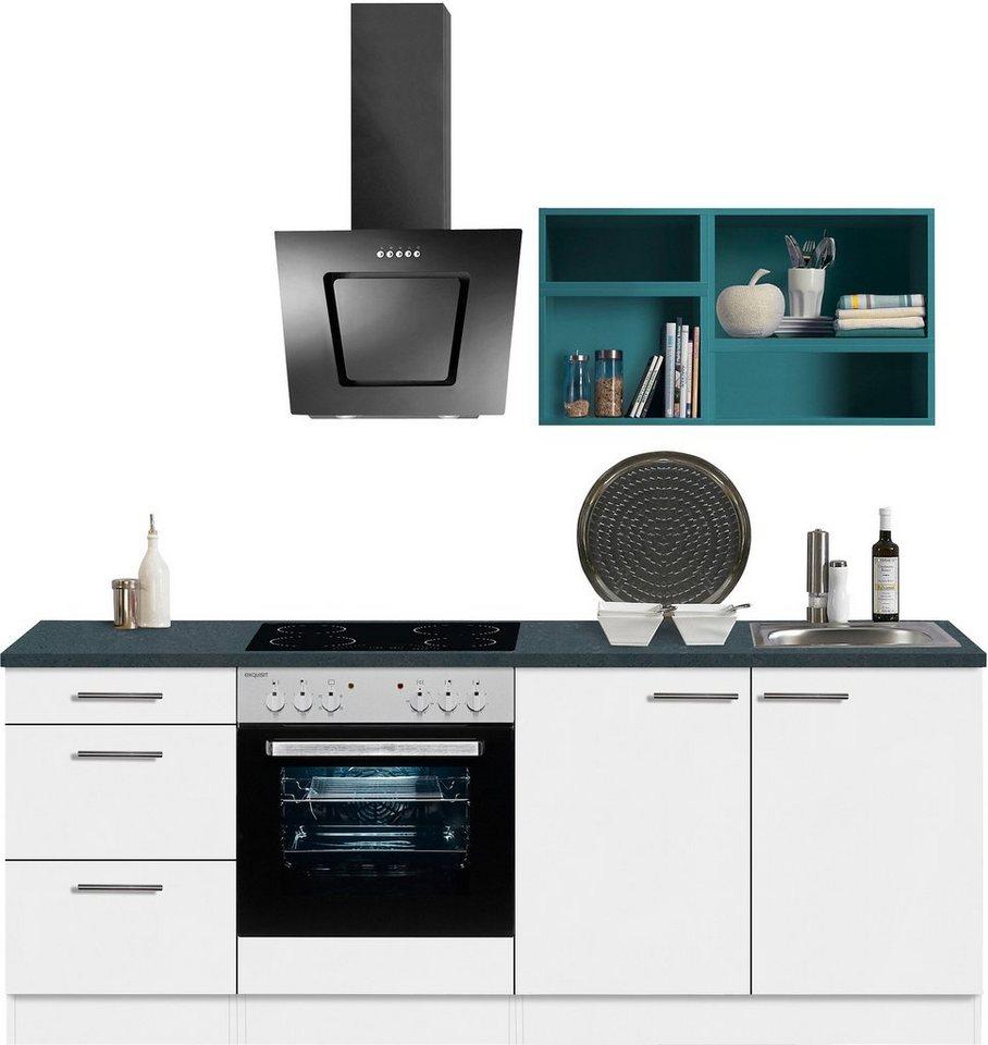 Optifit Singleküche »Mini« mit E-Geräten, Breite 210 cm in weiß-blau