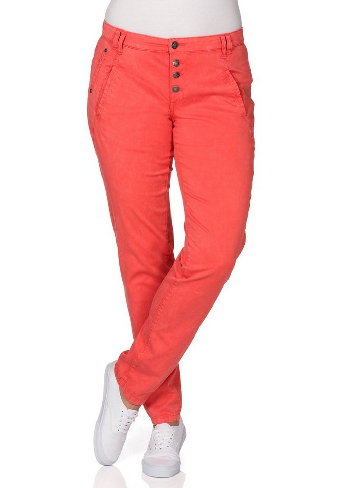 sheego Casual Schmale Stretch-Hose in korallrot