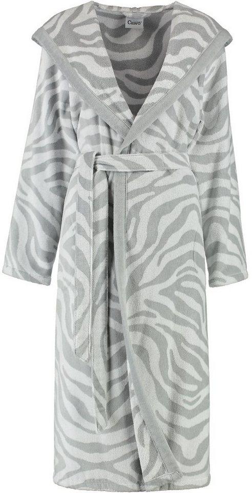 Damenbademantel, Cawö, »Zebra«, mit trendigem Fellmuster in silberfarben