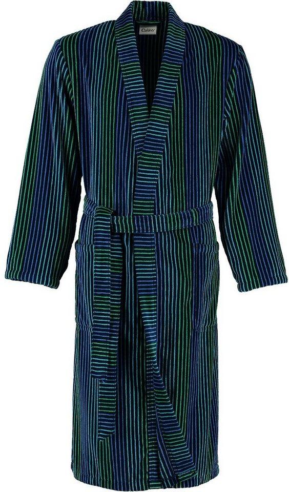 Herrenbademantel, Cawö, »Fashion«, mit farbigen Streifen in aqua