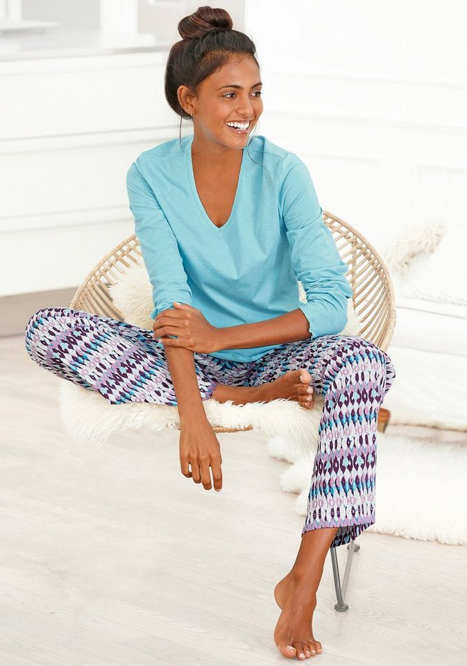 Petite Fleur Pyjama mit Schlafhose im Ethnolook in eisblau-ethno gemustert