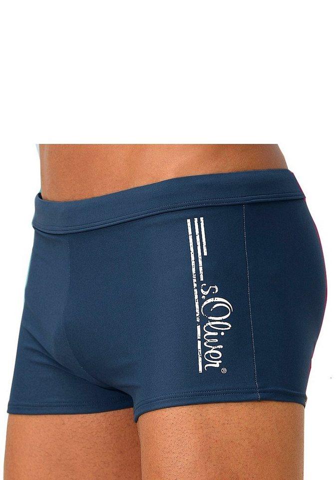 s.Oliver Beachwear Boxer-Badehose, mit Logoschriftzug im coolen Used-Look | Bekleidung > Bademode > Boxerbadehosen | Blau | s.Oliver Beachwear