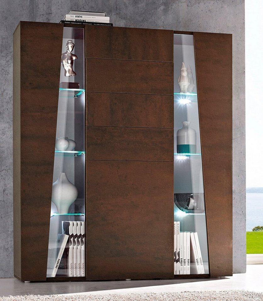 Tecnos Highboard, Breite 120 cm in stahlfarben braun