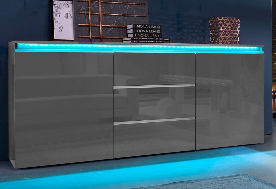 Tecnos Sideboard, Breite 180 cm in anthrazit Hochglanz