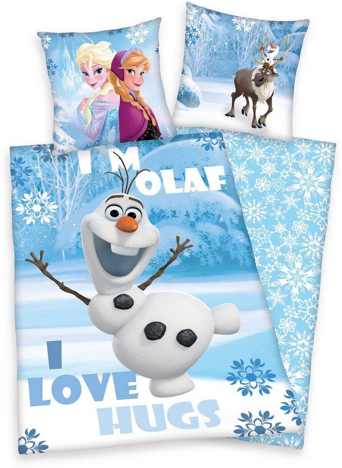 Kinderbettwäsche, Disney, »Die Eiskönigin Olaf«, Motiv in blau