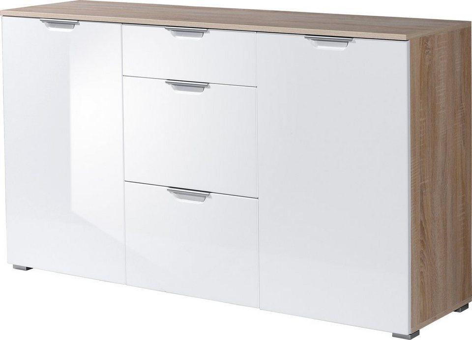 Germania Sideboard »Aurich«, Breite 144 cm in eichefarben-weiß