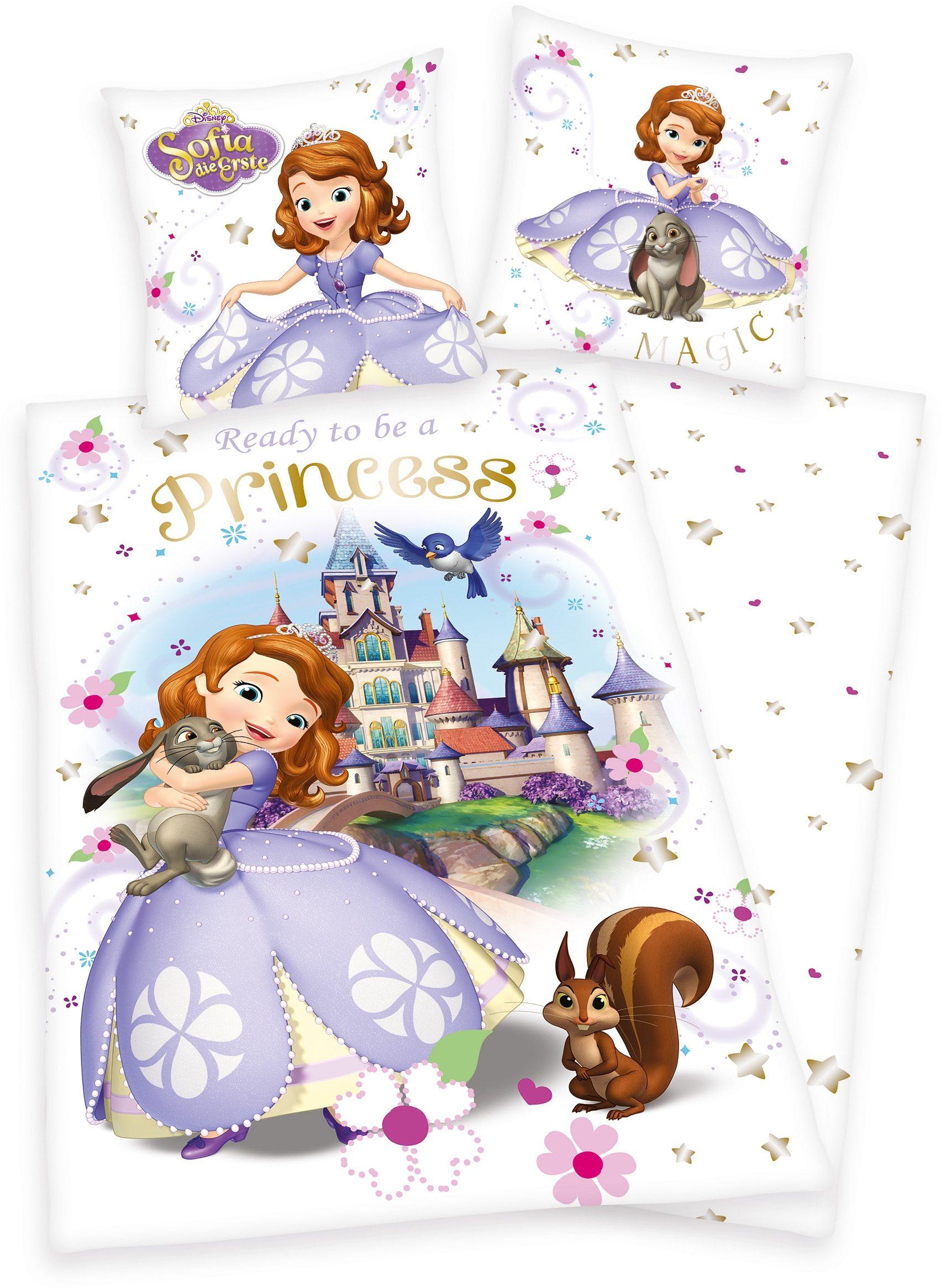 Kinderbettwäsche, Disney, »Sofia Princess«, mit Schloss