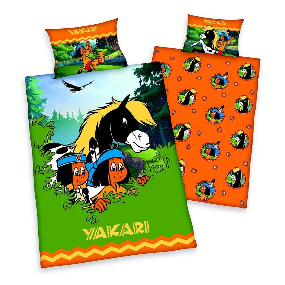 Kinderbettwäsche, Yakari, »Yakaris Abenteuer«, mit Motiven in orange