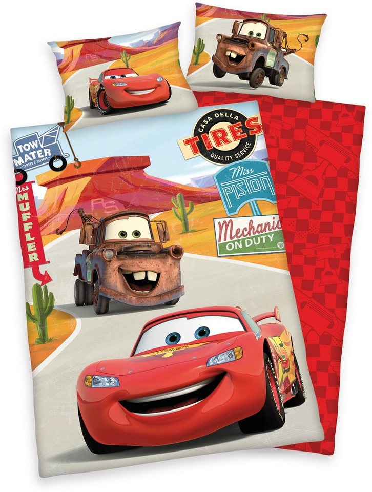 kinderbettw sche disney cars on road mit automotiven online kaufen otto. Black Bedroom Furniture Sets. Home Design Ideas