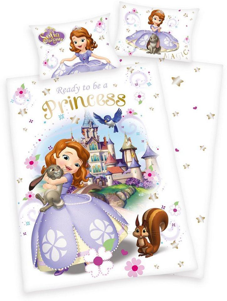 Kinderbettwäsche, Disney, »Sofia Princess«, mit Schloss in weiß