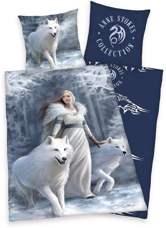 Jugendbettwäsche, Anne Stokes, »Polarwolf«, mit Wölfen in grau-marine