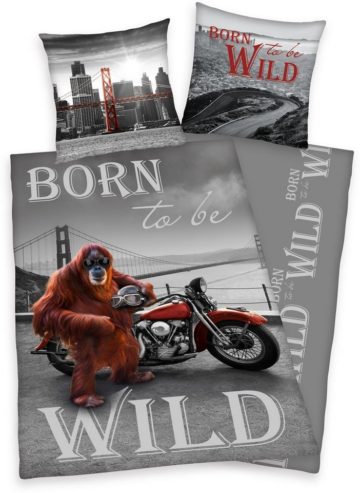 Bettwäsche, Young Collection, »Born to be wild«, mit Affe in grau