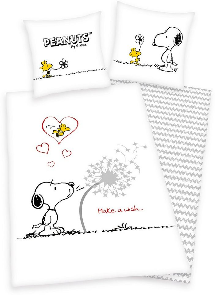 Kinderbettwäsche, Peanuts, »Make a Wish«, mit Snoopy in weiß