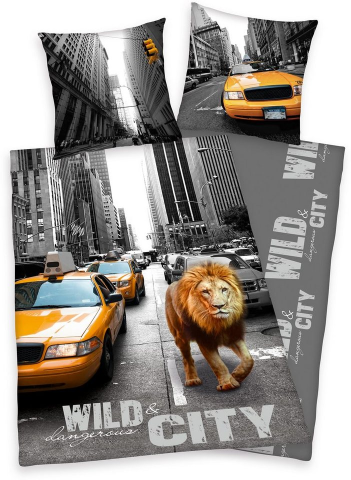 Bettwäsche, Young Collection, »New York Lion«, mit Motiv in grau