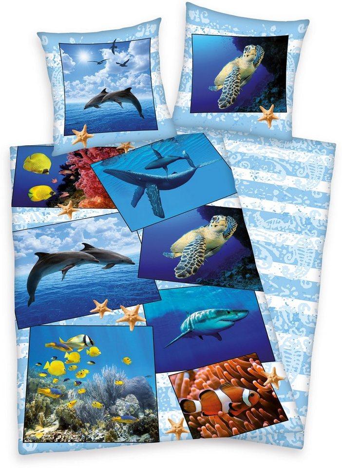 Bettwäsche, Young Collection, »Meerestiere«, mit Tieren in blau