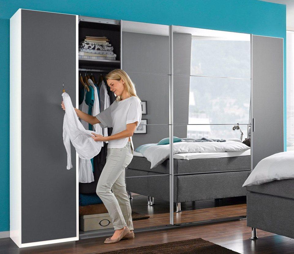Wimex Kleiderschrank mit Dreh- und Schwebetüren in lavafarben-schlammeichefarben/Spiegel