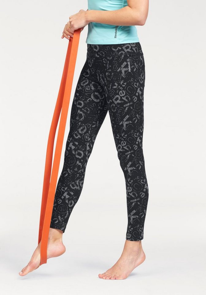 Reebok Leggings »ELEMENTS ALL OVER PRINT LEGGINGS« in schwarz-grau