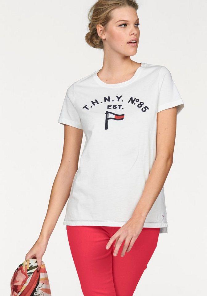 Tommy Hilfiger T-Shirt »Raised« mit Logo-Stickerei in weiß