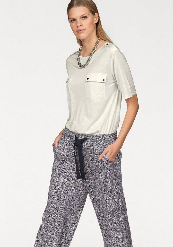 STEFANEL T-Shirt mit Schulterklappen in wollweiß
