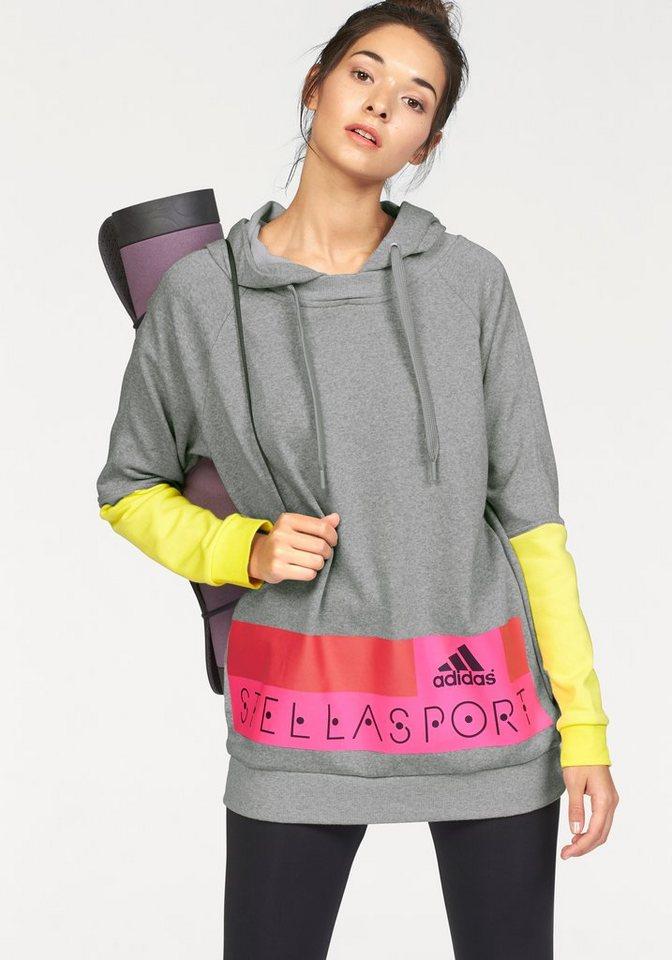 adidas Performance STELLASPORT LONG HOODY Kapuzensweatshirt in Grau-Meliert