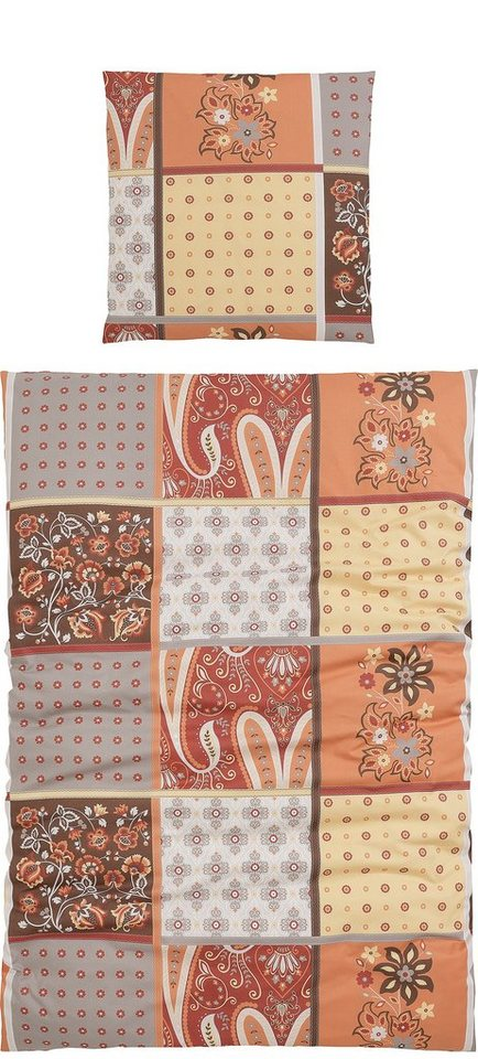Bettwäsche, Casatex, »Judy«, im Patchwork-Design in braun