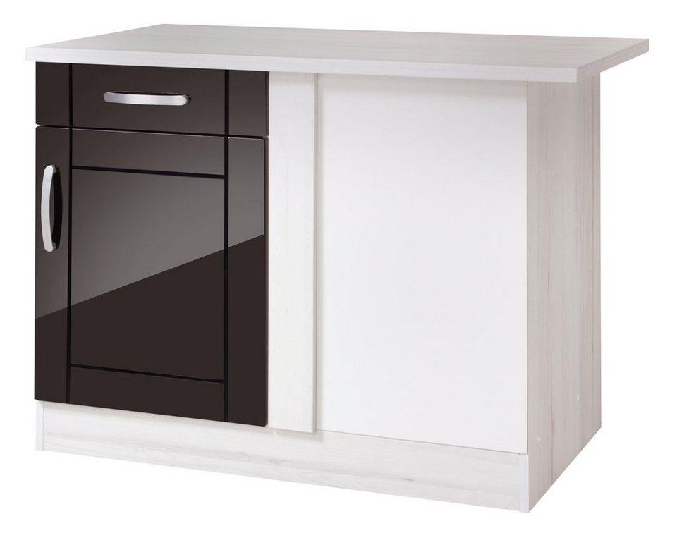 Held Möbel Eckunterschrank »Calais«, Breite 110 cm in schwarz/polareichefarben